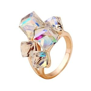 Women Multicolored layered Squares Ring Size 8